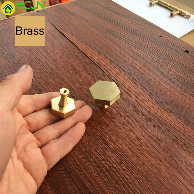 1 pc gold Antike Messing Hexagon Knöpfe Cabinet Knob Griff Kommode Knöpfe Schublade Zieht Küche Möbel Hardware
