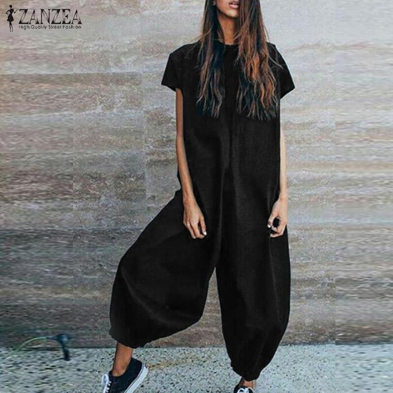 ZANZEA Linen Overalls Women Jumpsuits VIntage Lantern Pants Combinaison Female Short Sleeve Playsuits Macacao Feminino Pantalon