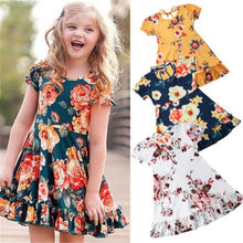 f2f71a1df9 Pretty Infant Kids Baby Girl Summer Flower Mini Dress Floral Fit and Flare  Lace Frilled Princess
