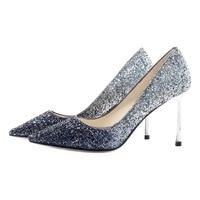 Высокие шпильки обувь 2019 новый сексуальный Для женщин Bling Свадебная обувь классический насос коктейльный большого размера Вечерние обувь с