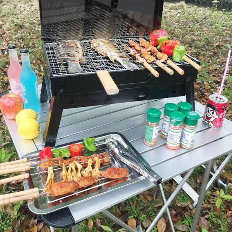 Pliable Portable Barbecue Barbecue grilles brûleur four extérieur jardin charbon de bois Barbecue Patio fête cuisine pique-nique pour 3-5 personne