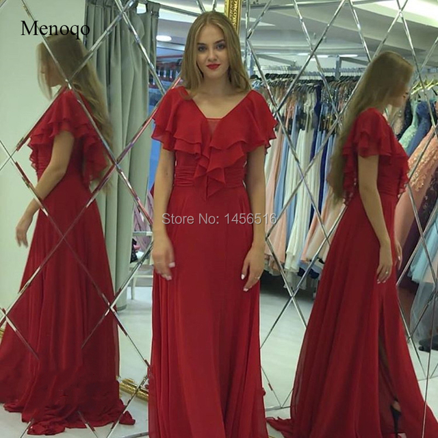 Chiffon Long Mother Of The Bride Dresses With Cap Sleeves 2019 Women V Neck A Line Prom Dress Gown