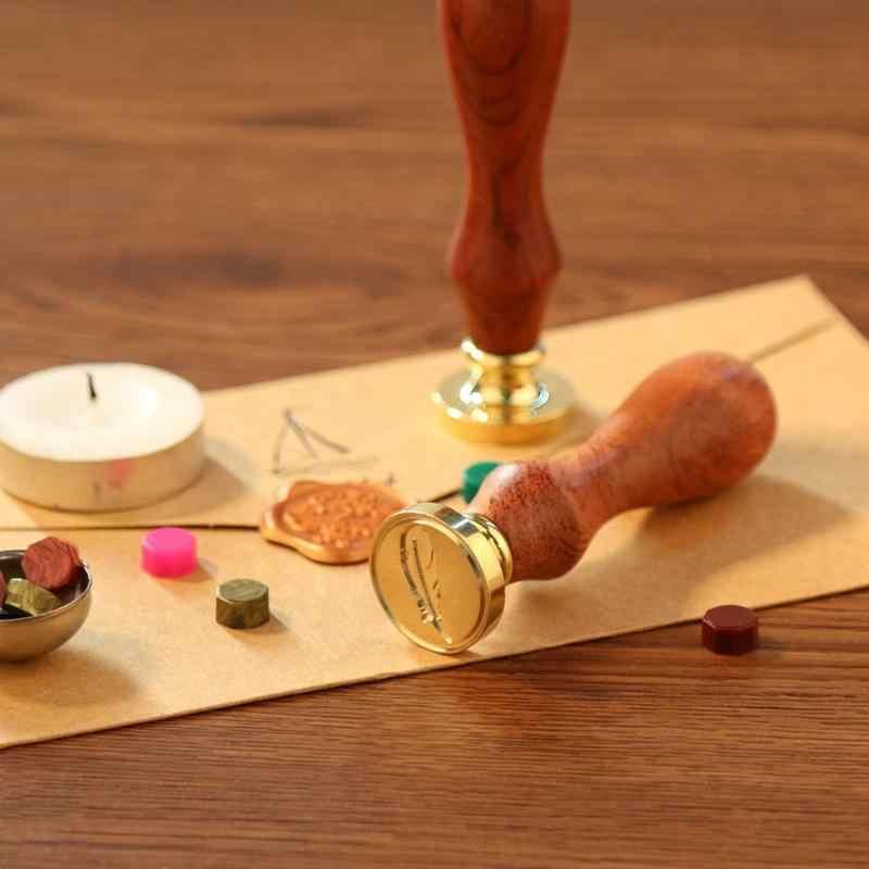 Ретро Античное металлическое растение уплотнение воск штамп деревянная ручка старинное Ремесло Декор