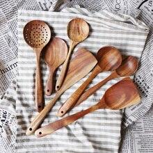 Горячий Таиланд тиковое дерево натуральное дерево ремесло посуда ложка ковш длинный рисовая шумовка для супа поварские ложки Совок ручной работы кухонный инструмент