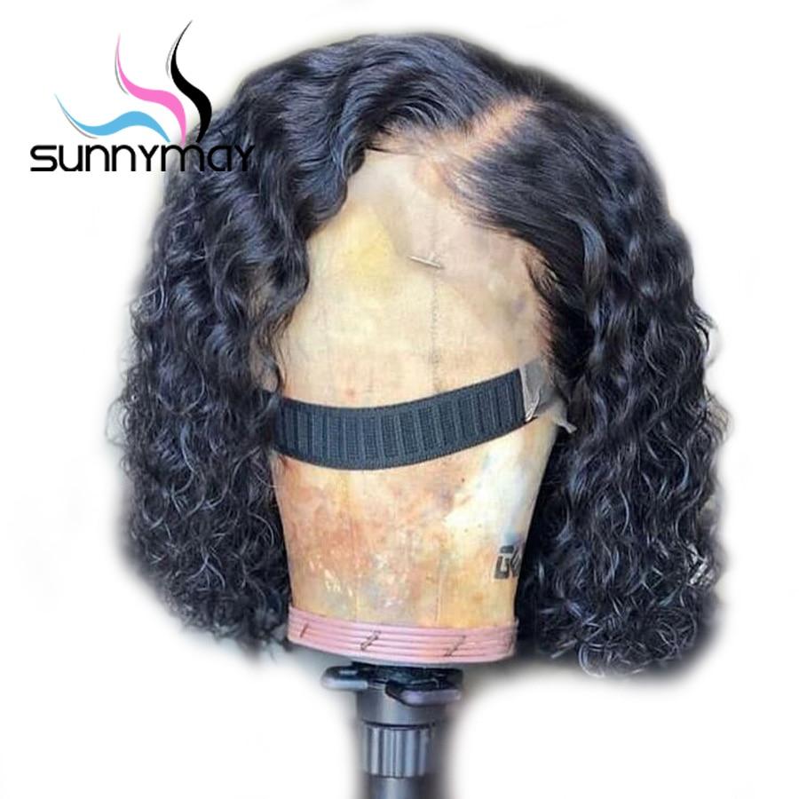 Sunnymay 13x4 Curly ลูกไม้ด้านหน้าผมมนุษย์ Wigs สำหรับผู้หญิง Pre Plucked 150% Remy Bleached Knots สั้น curly Lace ด้านหน้า Wigs-ใน วิกลูกไม้ผมจริง จาก การต่อผมและวิกผม บน AliExpress - 11.11_สิบเอ็ด สิบเอ็ดวันคนโสด 1