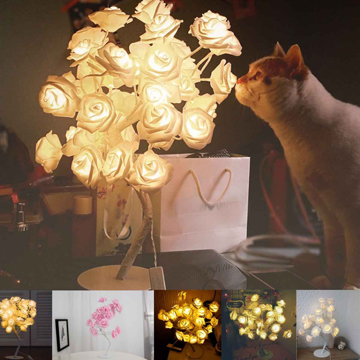 24 LED Rose Flowers Table Lamps Desk Night Light Indoor Lighting Lamp Home Bedroom Decoration Wedding Party Ornaments Pink/White