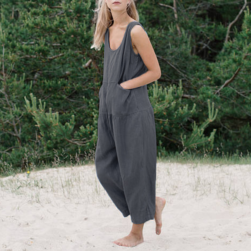 boho solid color   jumpsuits   Women summer holiday Bib Cargo Pants Hip Hop Loose Pants   Jumpsuit   Romper Pocket Plus Size 3xl 4xl 5xl