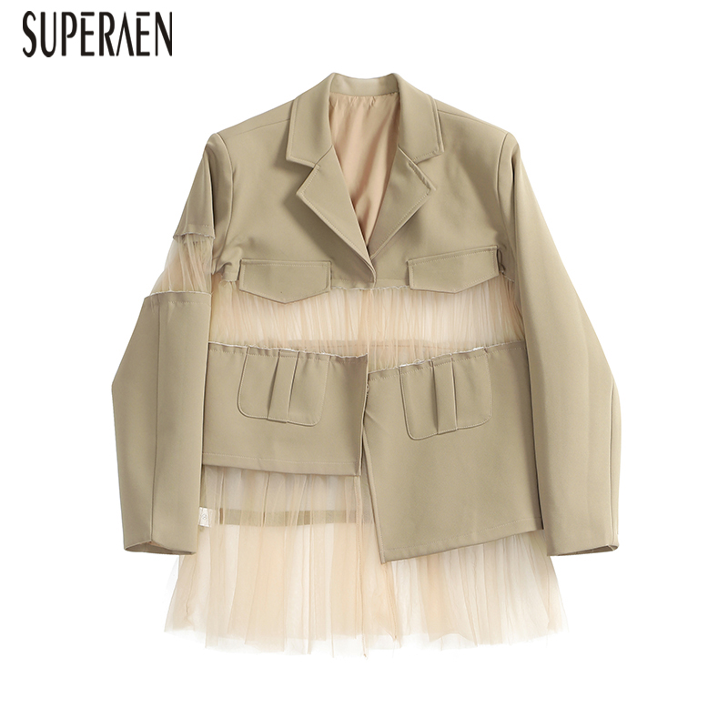 SuperAen Splicing Mesh Women Jacket Wild Fashion Casual Spring New 2019 Jacket Female Solid Color Europe