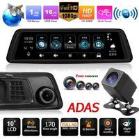 Phisung V9 9.88in IPS Screen Octa core 4G WiFi 1296P Car Rearview Mirror DVR Video Recorder GPS BT ADAS Dash Cam With 4 Cameras