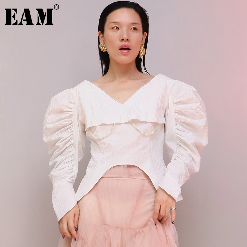 EAM 2019 Spring Fashion New V neck Silhouette Waist Fold Round Sleeves Handmade Imitation Pearls