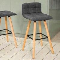 SoBuy FST50 DG, Kitchen Breakfast Barstool, Bar Stool with Fabric Padded Seat