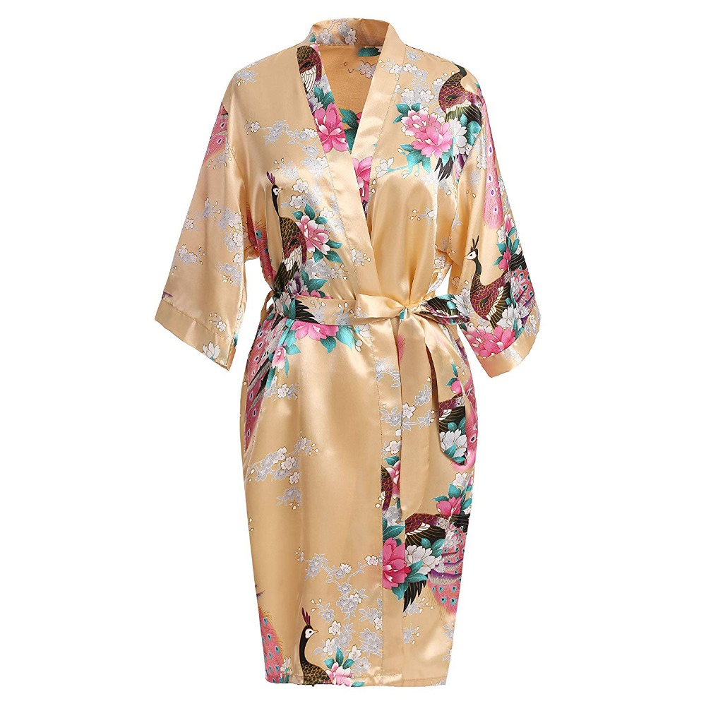 Noble Gold Bridesmaid Bride Wedding Robes Kimono Robe Bath Gown Classic Mini Satin Sleepwear Plus Size Print Peacock Homedress