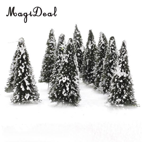MagiDeal 10Pcs 1/150 White Dark Green Scenery Landscape Model Cedar Trees For Train Track Building Model Layout Prop 8cm