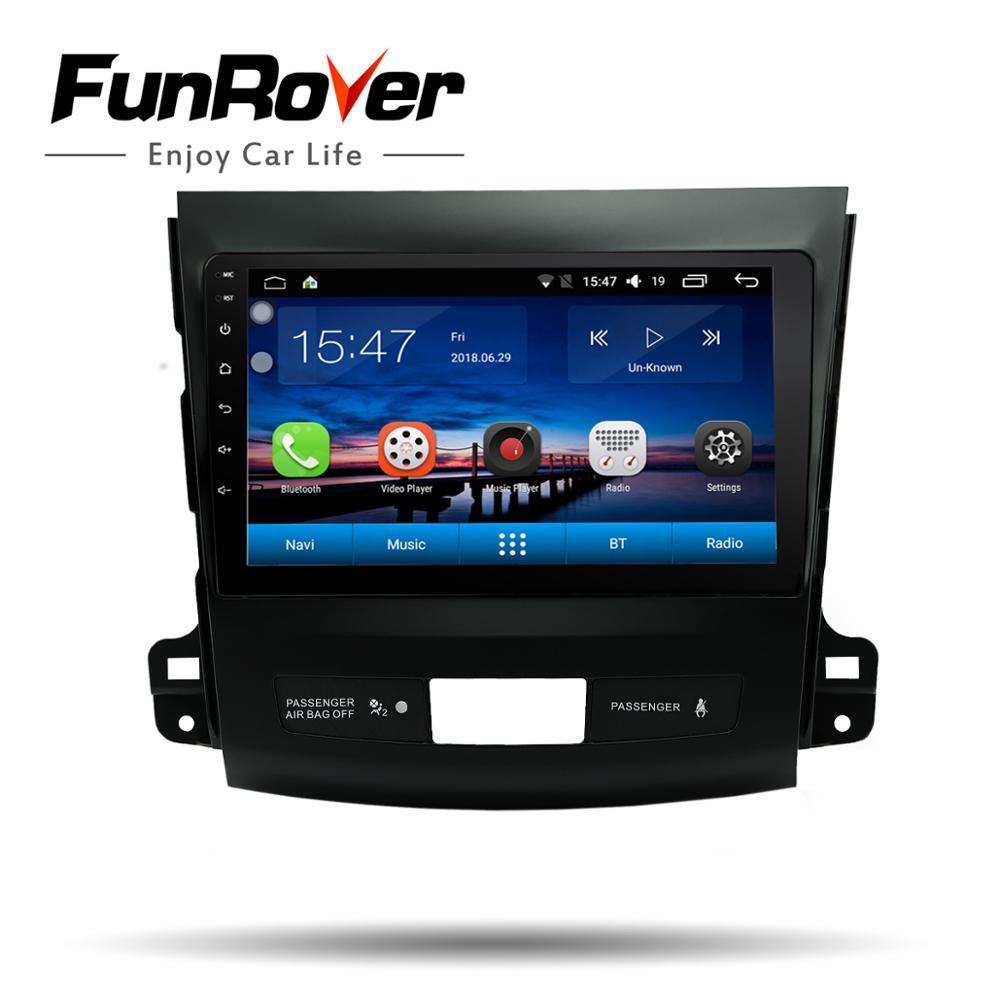 Funrover Voiture lecteur multimédia 9 ''Navigation dvd stéréo pour Mitsubishi Outlander 2006-2014 Peugeot 4007/Citroen C- croix gps usb