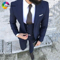 Tailored Italian Classic Men's Suits Wedding Slim Fit Navy Blue Groom Tuxedo 3Piece Custome Double Breasted Vest Blazer Jacket