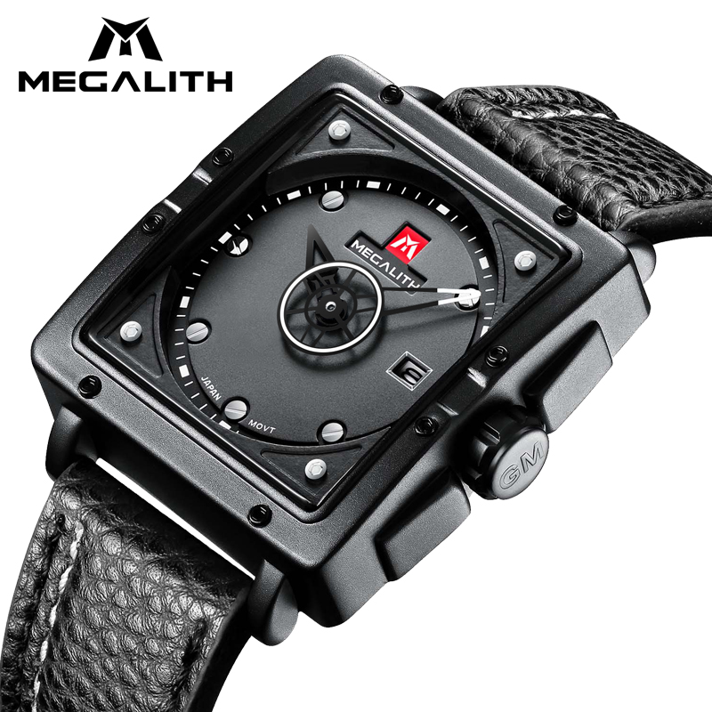 MEGALITH Fashion Quartz Sports Watches Mens Top Brand Leather Strap Square Watch Waterproof Fashion Casual Wristwatch Men ClockMEGALITH Fashion Quartz Sports Watches Mens Top Brand Leather Strap Square Watch Waterproof Fashion Casual Wristwatch Men Clock