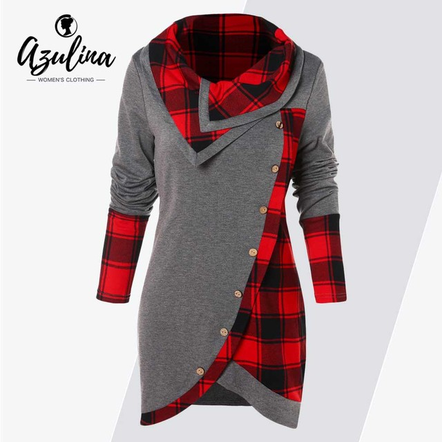 AZULINA Plus Size Women T-Shirt Casual Tartan Panel Long Sleeve Asymmetrical T-Shirts Ladies Tops Tees Female Autumn Pullovers
