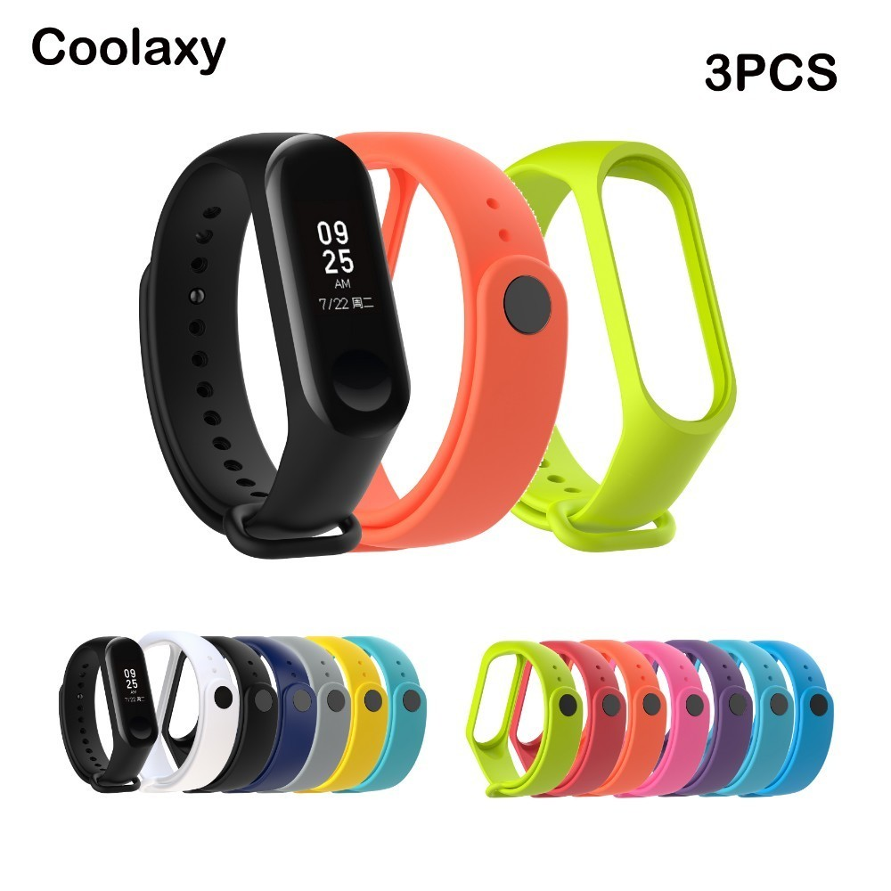 Coolaxy Bracelet For Xiaomi Mi Band 3 Strap Sport  Silicone Wrist Accessories Miband