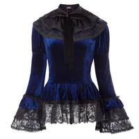 Gothic Victorian 2pcs Set Velvet Top Lace Cape Steampunk Theater Clothing sexy classic harajuku lolita long flare sleeve jacket