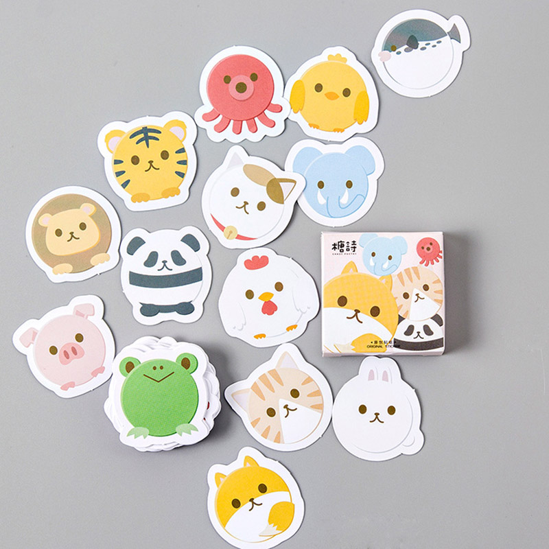 45pcs/box Cute Stickers Kawaii Animal Stickers Cartoon Paper Stickers  For Kids Child Gifts Stranger Things Funny Classic Toys