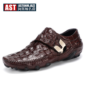 Recommand! Trendy Octopus Loafers Men Casual Shoes Business Man Crocodile Print Full Grain Leather Hook Loop Four Season