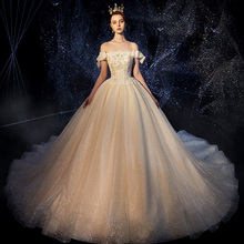 Vivians Bridal 2019 Luxury Shinny Crystal Wedding Dress Sexy Off Shoulder Bow Short Sleeve Sequin Beading Appliques Gown