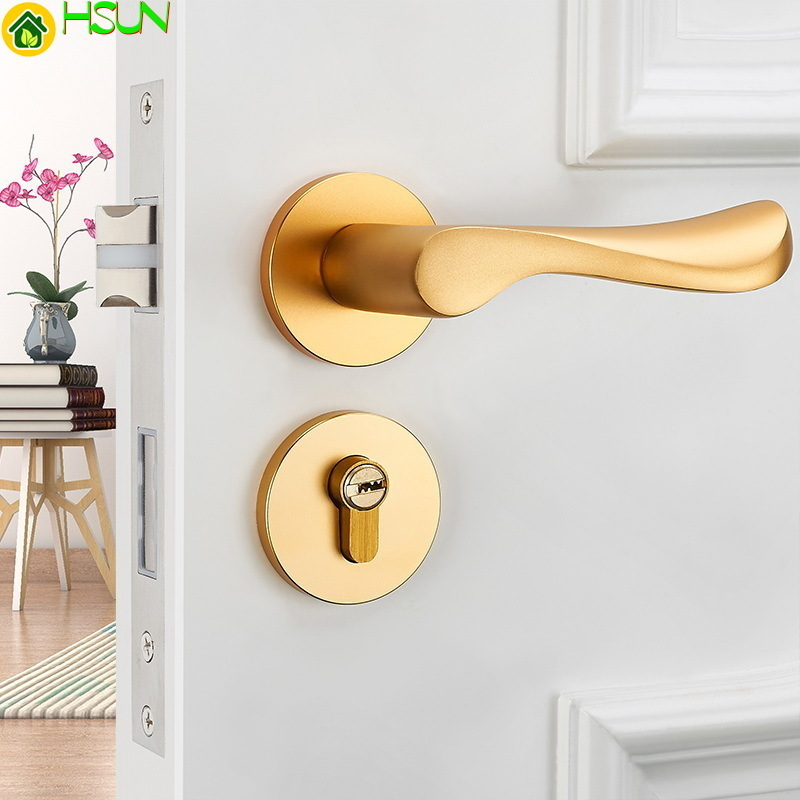Solid Space Aluminum Bedroom Lock Wooden Doors Lock Indoor Hold Hand Continuous System Household Hand Lock Electroplated goldSolid Space Aluminum Bedroom Lock Wooden Doors Lock Indoor Hold Hand Continuous System Household Hand Lock Electroplated gold