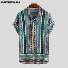 2019 Ethnic Style Men Shirt Print Lapel Neck Loose Streetwear Short Sleeve Tops Casual Tropical Hawaiian INCERUN S-5XL
