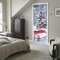 Imitation 3D Door Paste Christmas Tree Wall Stickers Wooden Door 77 X 200CM