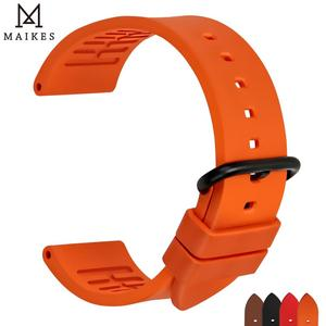 Image 1 - MAIKES Qualität fluororubber uhrenarmbänder 20mm 22mm 24mm Orange gummi uhr strap band uhr zubehör für sport tauchen uhren