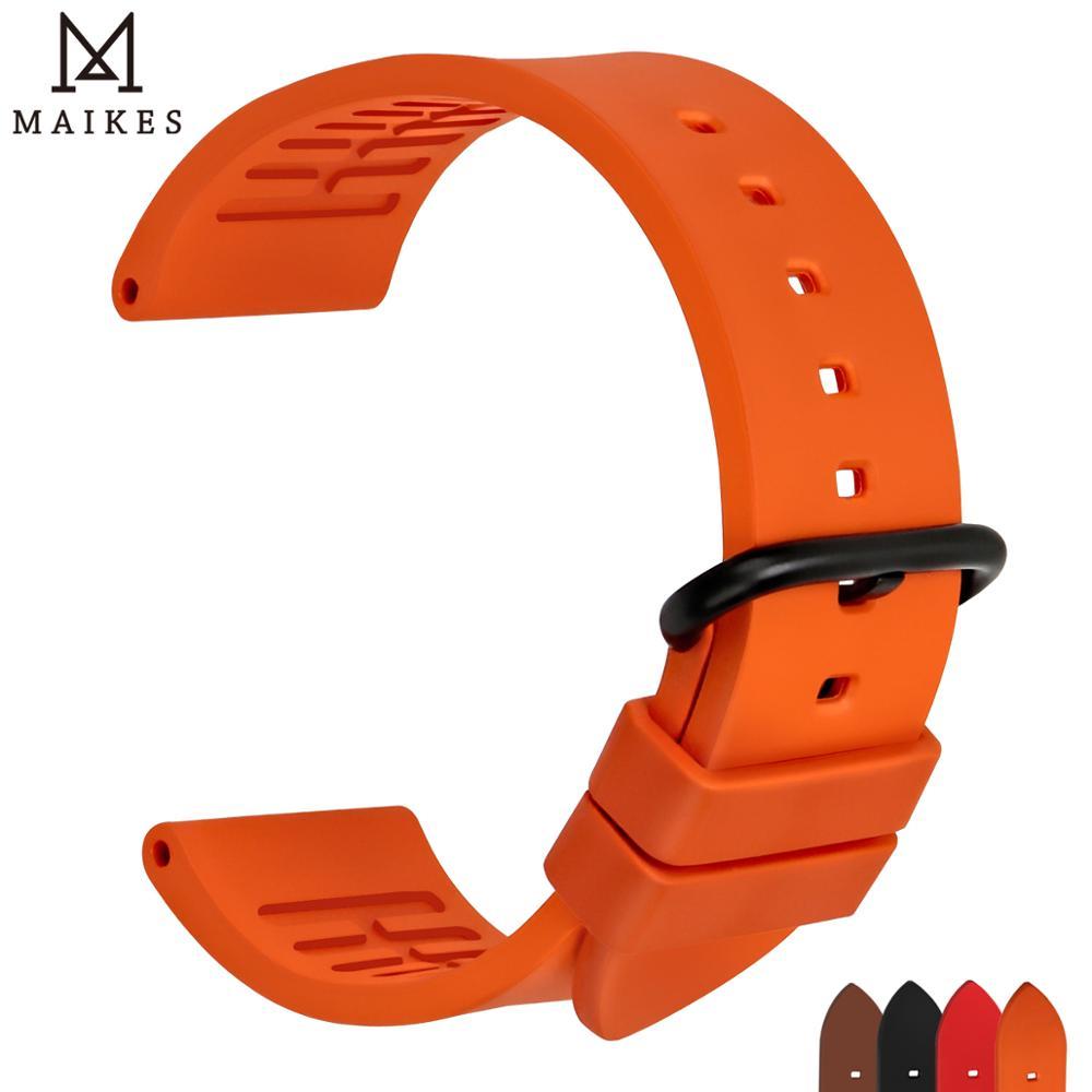 MAIKES Kvalitetne trake od fluororubera 20mm 22mm 24mm Narančasti gumeni remenski pribor za satove za sportske ronilačke satove