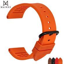 MAIKES 품질 fluororubber 시계 밴드 20mm 22mm 24mm 오렌지 고무 시계 스트랩 밴드 시계 액세서리 스포츠 다이빙 시계