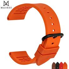 Maikes 品質 fluororubber 時計バンド 20 ミリメートル 22 ミリメートル 24 ミリメートルオレンジラバーストラップウォッチバンド時計アクセサリースポーツダイビング腕時計