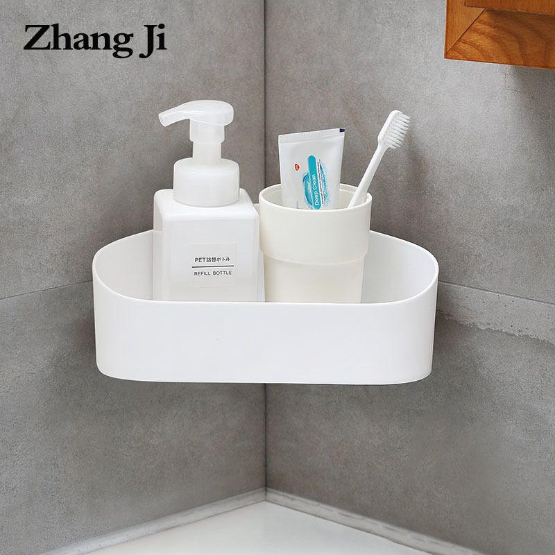 ZhangJi Bathroom Triangle Wall Corner Storage Holder Racks Traceless Adhesive Shelf Wall Mount No Drilling Storage Box Shelves