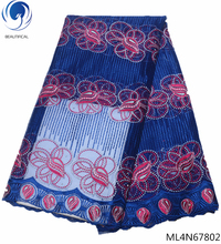 BEAUTIFICAL african fabric lace 5 yards for women party dress french tulle ML4N678