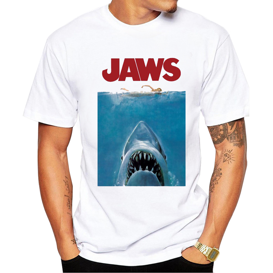 2019 Newest Summer Vintage Movie Jaws Design   T     Shirt   Men's High Quality 100% cotton Hipster Shark Print Tops Tees streetwear