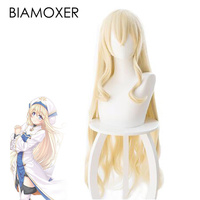 Biamoxer Anime Goblin Slayer Onna Shinkan Cosplay Hair Priestess Perucas Headwear 100cm Yellow Heat Resistant Synthetic Hair