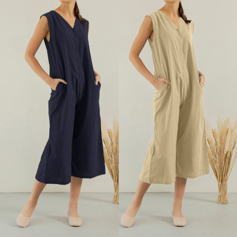 Celmia Plus Size Women Cotton Pockets Long Wide Leg Romper Sleeveless Dungaree Bib Overalls Casual Playsuit Loose Solid   Jumpsuit