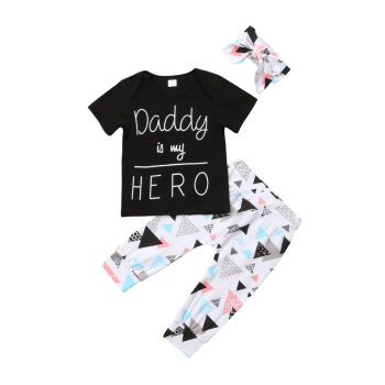 Newest 3pcs Kid Infant Baby Boy clothing Short Sleeve letter Tops T-shirt+Leggings Pants+headband Outfit Clothes set