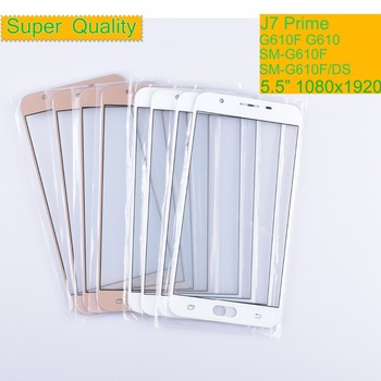 10Pcs/lot For Samsung Galaxy J7 Prime G610F G610 SM-G610F SM-G610F/DS Touch Screen Front Glass Panel TouchScreen LCD Outer Lens 10pcs lot for huawei ascend g610 c8815 g610 u20 touch screen touch panel sensor digitizer front outer glass lens touchscreen