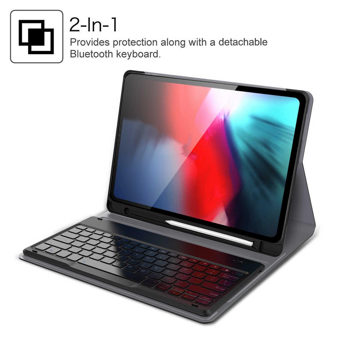 IPad Pro 12.9 2018 için Klavye tablet kılıfı kalemlik Kumaş Deri Akıllı Kapak Için iPad Pro 12.9 A1876 A2014 A1895 A1983