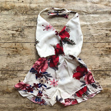 PUDCOCO Princess Toddler Kids Baby Girl Flower Print Romper Jumpsuit Sunsuit Clothes summer kids baby girl cotton knitted pleated ruffles sleeveless romper princess sunsuit overalls jumpsuit long trousers clothes