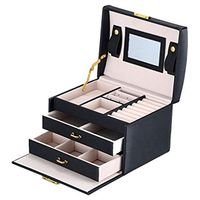 Black Color PU Leather Jewelry Packaging Box With 2 Drawers Three layer Storage Jewelry Organizer Carrying Cases Women Cosmetic