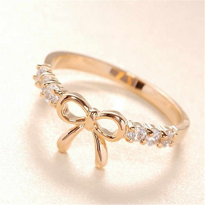 Bow Crystal Gothic Rings For Women Silver Jewelry Boho Engagement Ring Women Wedding Finger Rings Gifts For Female Fashion Ring