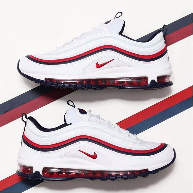 Nike Air Max 97 White Red Bullet Men Running Shoes Air Cushion Leisure Time Shoes Comfortable Sports Sneakers