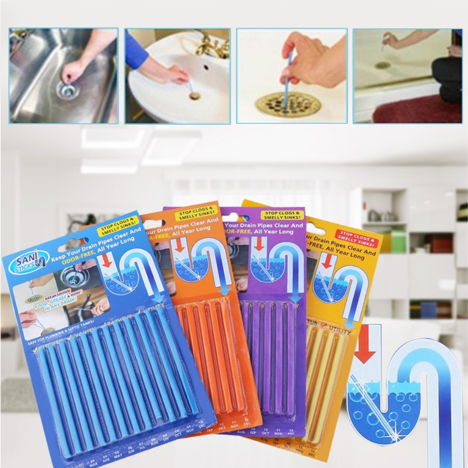 Sani Sticks-Drain Cleaner And Deodorizer Sticks 12pcs Oil Sink Unblocker Sewer Pipe Toilet Cleaner Dredging Tool Rod For Kitchen