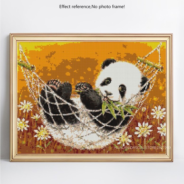 HUACAN 5D DIY Diamond Painting Panda Full Square Diamond Embroidery Animal Mosaic Picture Of Rhinestones Flower