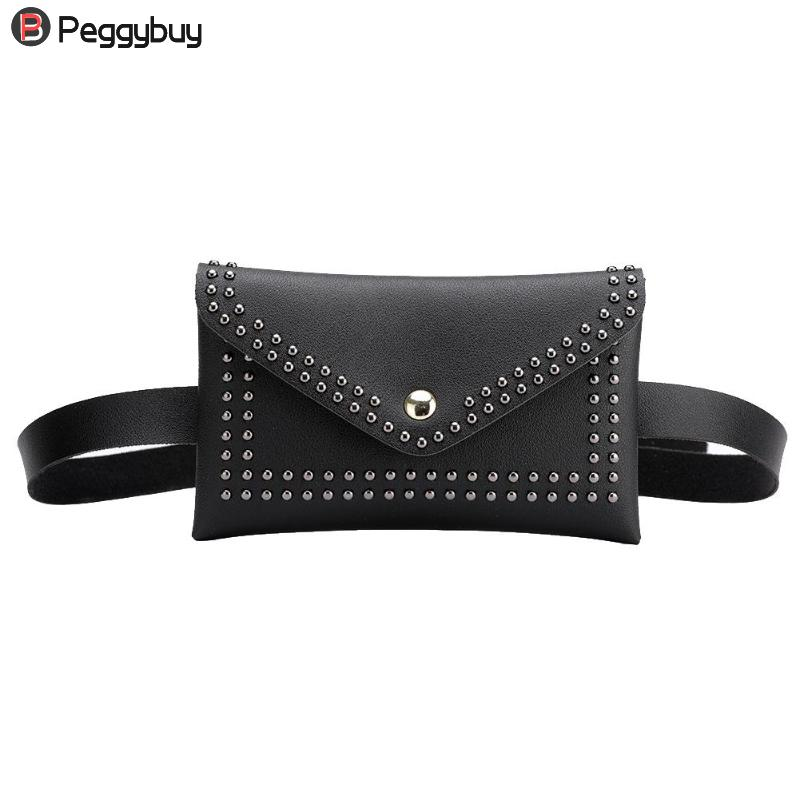 Fashion Rivets Waist Pack Fanny Pack Small Women Waist Bag Phone Pouch Punk Belt Bag Purse Shoulder Messenger Bag