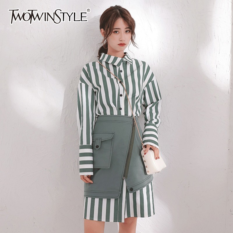 TWOTWINSTYLE Women s Sets Long Sleeve Striped Shirt Dress High Waist Mini Skirt Korean Fashion Two