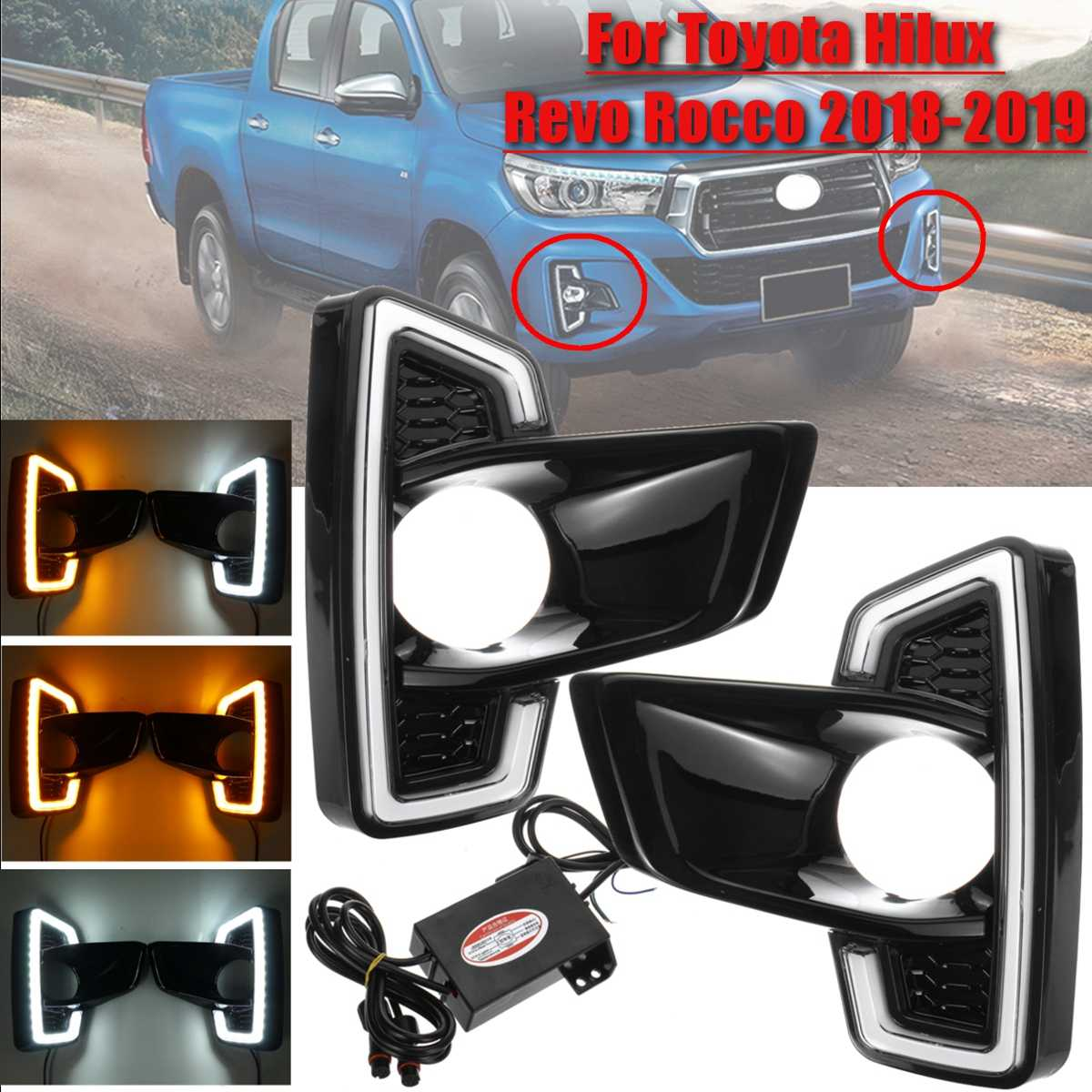 1 Pair Car Front Bumper LED DRL For Toyota Hilux Revo Rocco 2018 2019 Styling Fog Light Driving Lamp White Yellow Turn Signal1 Pair Car Front Bumper LED DRL For Toyota Hilux Revo Rocco 2018 2019 Styling Fog Light Driving Lamp White Yellow Turn Signal
